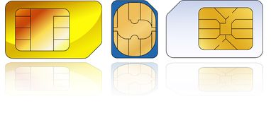 Three sim-cards Stock Photos