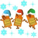 Three SIM cards go in santa outfit Stock Photos