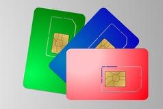 Three sim cards on gray Stock Photo