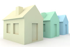 Three Simple 3D Houses Royalty Free Stock Photography