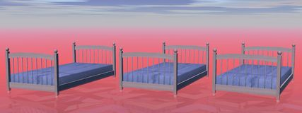 Three simple beds - 3D render Stock Images