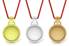 Three simple medals, gold, silver and bronze Royalty Free Stock Photos