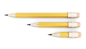 Three simple pencil of varying size on a white background Stock Photography