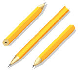 Three simple stationery pencil in different angles. Stock Images