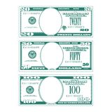 Three simplified stylized bills with no faces stock illustration