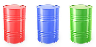 Three single red barrels, red, green and blue Royalty Free Stock Photos