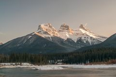 Three Sister mountain during the evening Royalty Free Stock Image