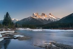 Three Sister mountain during the evening Royalty Free Stock Photography
