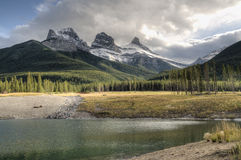 Three sisters. Afternoon light on three sisters canmore alberta Stock Image