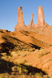 Three Sisters. The 3 Sisters formation in Monument Valley, Arizona Royalty Free Stock Photo