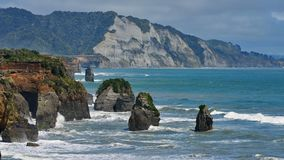 Three Sisters Beach and Elephant Rock formations in New Zealand Stock Images