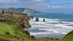 Three Sisters Beach and Elephant Rock formations in New Zealand Stock Photo
