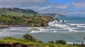 Three Sisters Beach and Elephant Rock formations in New Zealand Stock Photography