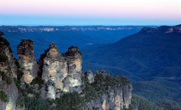 Three Sisters Blue Mountains. The Three Sisters, Katoomba, Blue Mountains, Sydney, Australia.  Taken just after sunset.  You can see why they're called the Blue Royalty Free Stock Photography