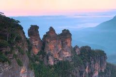Three Sisters - Blue Mountains - Australia. Three Sisters, Echo Points, Blue Mountains, Sydney, Australia at dawn Royalty Free Stock Photos