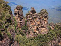 The Three Sisters, Blue Mountains, Australia. The Three Sisters , named Meehni, Wimlah and Gunnefoo, is a rock formation caused by land erosion in the Blue Royalty Free Stock Photos