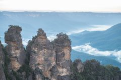 Three Sisters, Australia. The Three Sisters is the Blue Mountains` most spectacular landmark. Located at Echo Point Katoomba, around 2.5 kilometres from the royalty free stock images