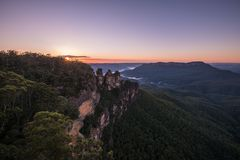 Three Sisters, Australia. The Three Sisters is the Blue Mountains` most spectacular landmark. Located at Echo Point Katoomba, around 2.5 kilometres from the royalty free stock photography