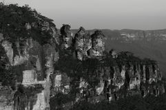 Three Sisters. Blue Mountains Nation Park NSW Australia black and white Royalty Free Stock Images