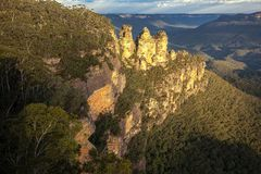 Three Sisters, Blue Mountains National Park. Picture taken at sunset royalty free stock images