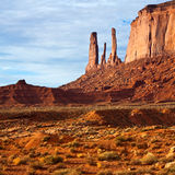 Three Sisters Butte Landscape. Three Sisters butte in Monument Valley, Arizona Stock Images