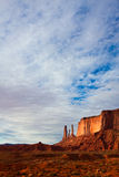 Three Sisters Butte under Dramatic Sky. Three Sisters butte in Monument Valley Tribal Park, Arizona Royalty Free Stock Photo