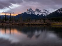 Three Sisters, Canmore Alberta royalty free stock photo