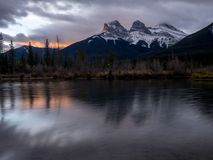 Three Sisters, Canmore Alberta royalty free stock image