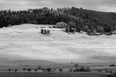 Three sisters. Dramatic Black and White Landscape. view from spis castle stock image