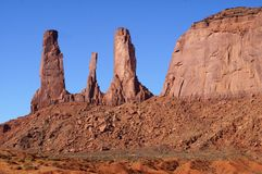 Three Sisters formation, Monument Valley. Stock Image