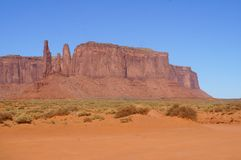 Three Sisters formation, Monument Valley. Stock Photo
