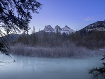 Three Sisters from a frozen Policemen`s Creek royalty free stock image