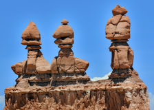 Three Sisters Hoodoos Goblin Valley State Park Rock Canyon Utah Stock Images