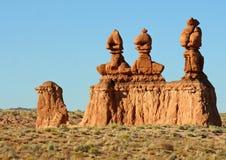 Three sisters hoodoos. Natural hoodoos in Goblin Valley, Utah Royalty Free Stock Image