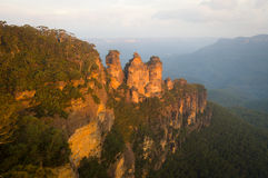 Three Sisters. The iconic Three Sisters at sunset, in the Blue Mountains National Park, near Katoomba, NSW, Australia Stock Image