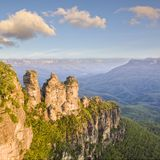 Three Sisters Katoomba Australia. Three Sister rock formation at Katoomba in the Blue Mountains of NSW, one of Australia`s most famous tourist landmarks Royalty Free Stock Photos