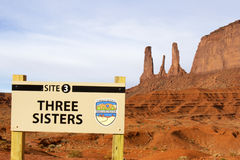 Three Sisters Monument - Monument Valley Stock Image