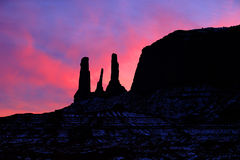 Three Sisters of Monument Valley Stock Images