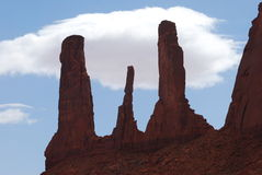 The Three Sisters of Monument Valley Royalty Free Stock Photos