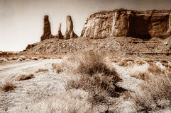 Three Sisters in Monument Valley Stock Image