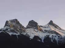 Three Sisters Mountain Range in Alberta stock image