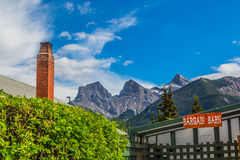 The Three Sisters Peak from Canmore downtown Royalty Free Stock Photo