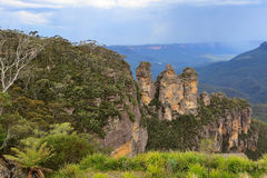 Three sisters rock in Blue Mountain Stock Images