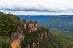 Three Sisters rock formation viewed from Echo Point lookout Royalty Free Stock Photo