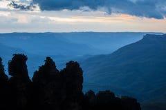 Three Sisters silhouette in Blue Mountains. Famous Three Sisters rock formation silhouette in Blue Mountains of NSW, Australia royalty free stock photo