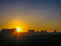 Three sisters sunrise, Monument Valley Stock Photos