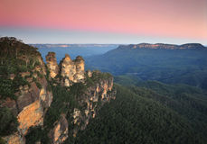 Three Sisters sunset, Blue Mountains,NSW,Australia royalty free stock image