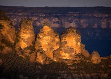 Three Sisters at sunset Royalty Free Stock Images