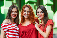 Three sisters-triplets portrait Stock Image