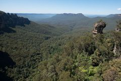 Three Sisters view from sky rail. With 360° views, the 720 metre journey provides the best views royalty free stock image
